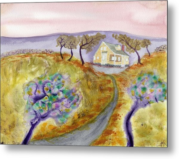 Cottage By The Purple Trees Metal Print