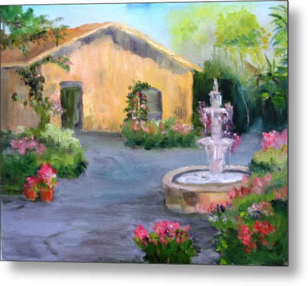 Cottage Courtyard Metal Print