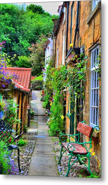 Cottage Row Metal Print by Dave Woodbridge