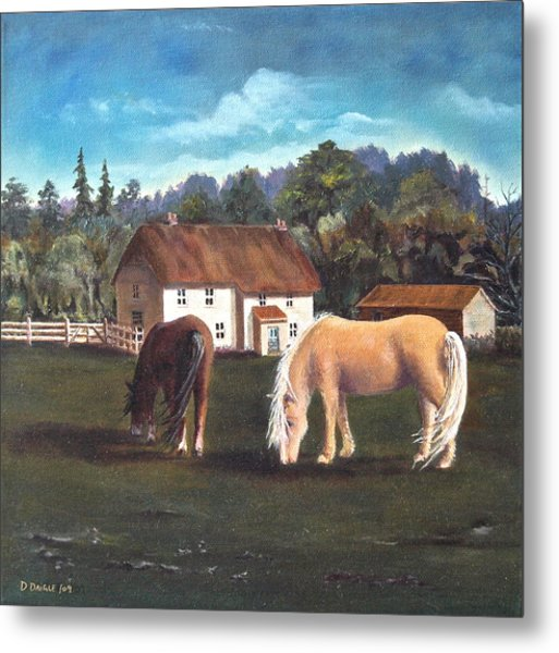 Cottage With Shetland Ponies Metal Print by Diane Daigle