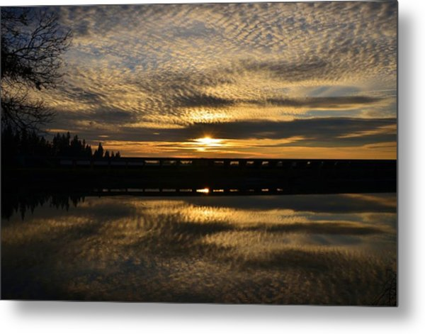 Cotton Ball Clouds Sunset Metal Print