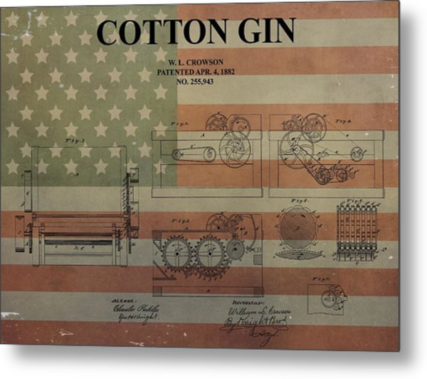 Cotton Gin Patent Aged American Flag Metal Print