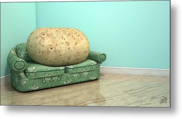 Couch Potato On Old Sofa Metal Print