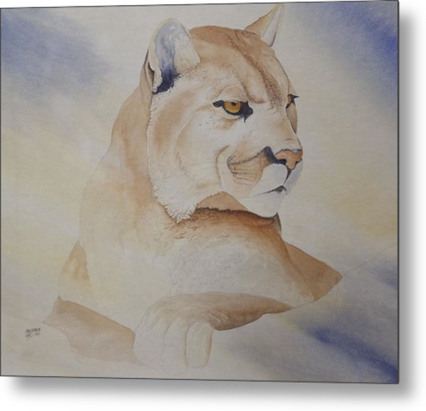 Cougar On Watch Metal Print