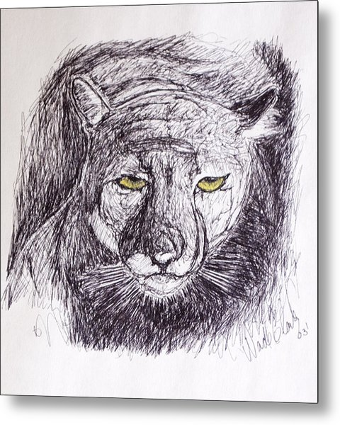 Metal Print featuring the drawing Cougar Sketch 3 by Wade Clark
