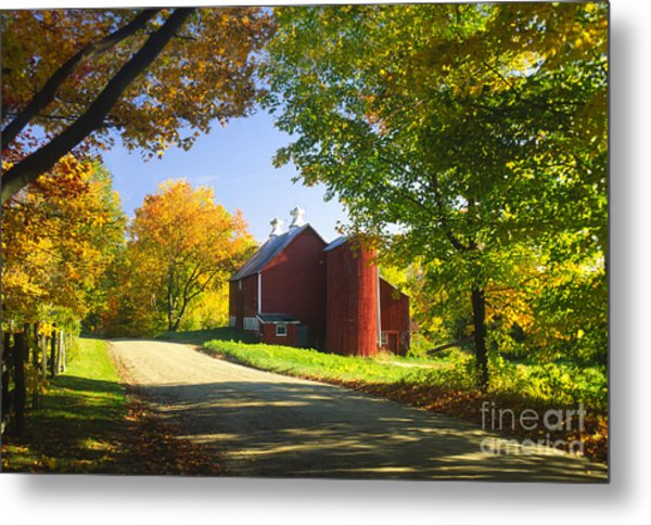 Country Barn On An Autumn Afternoon. Metal Print