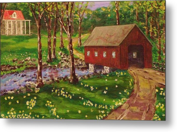 Country Covered Bridge Metal Print