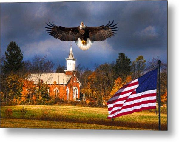 country Eagle Church Flag Patriotic Metal Print