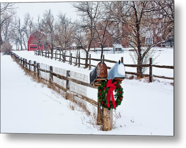 Country Holiday Cheer Metal Print