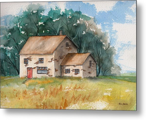 Country Home With The Red Door Metal Print