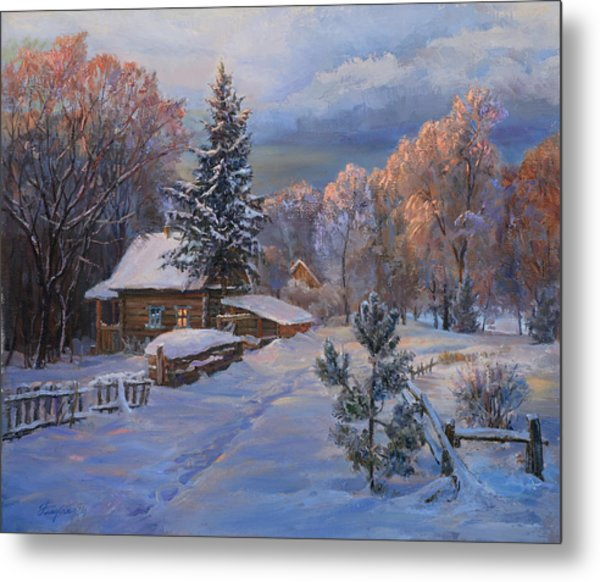 Country House In Winter Metal Print
