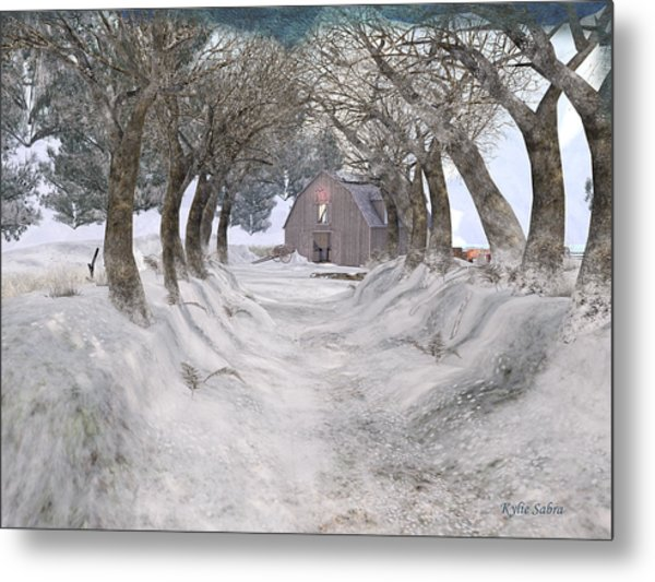 Country Lane In Winter Metal Print