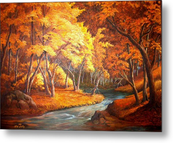 Country Stream In The Fall Metal Print