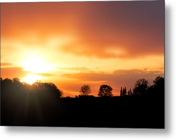 Country Sunset Silhouette Metal Print