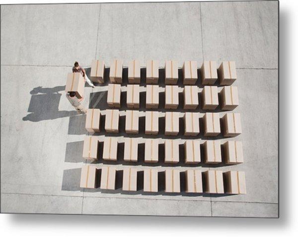 Couple Carrying Box Metal Print by Martin Barraud