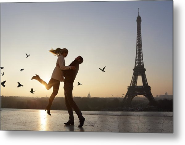 Couple Embracing, View Of Eiffel Tower Metal Print by Peter Cade