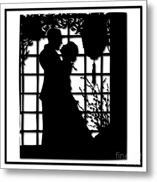 Couple In Love Silhouette Metal Print