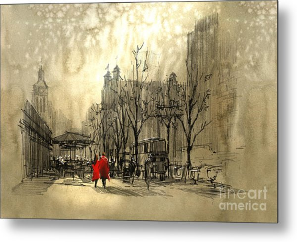 Couple In Red Walking On Street Of Metal Print by Tithi Luadthong