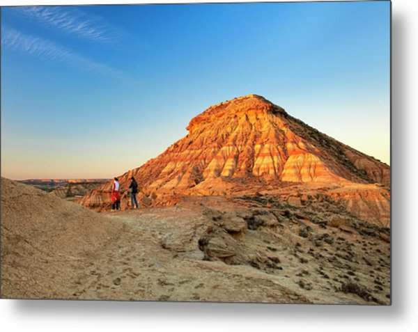 Couple Looking At Desert From Clay Metal Print