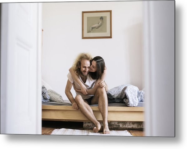 Couple Sitting On Bed Hugging Metal Print by Willie B. Thomas