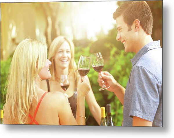 Couple Winetasting, Tasting Wine Metal Print