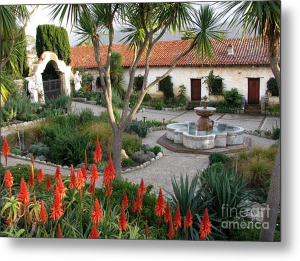 Courtyard Of The Carmel Mission Metal Print