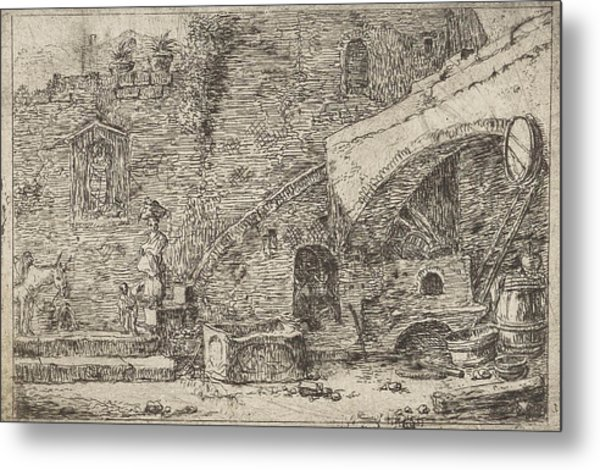 Courtyard With Wife And Child At A Staircase Metal Print