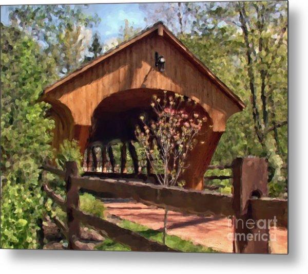 Covered Bridge At Olmsted Falls-spring Metal Print