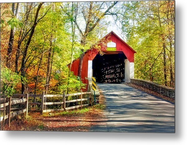 Covered Bridge In Bucks County Metal Print