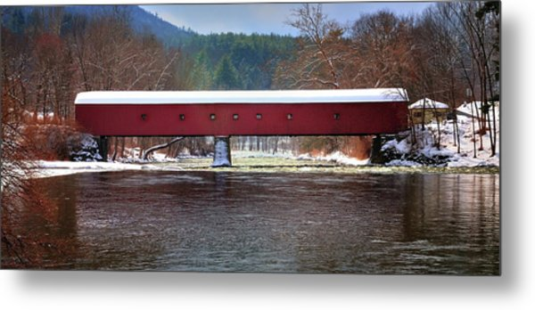 Covered Bridge Of West Cornwall-winter Panorama Metal Print