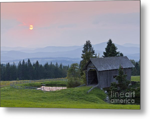 Covered Bridge Sunset Metal Print
