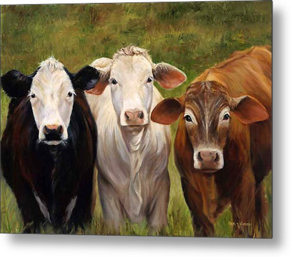 Cow Painting Of Three Amigos Metal Print