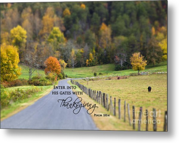 Cow Pasture With Scripture Metal Print