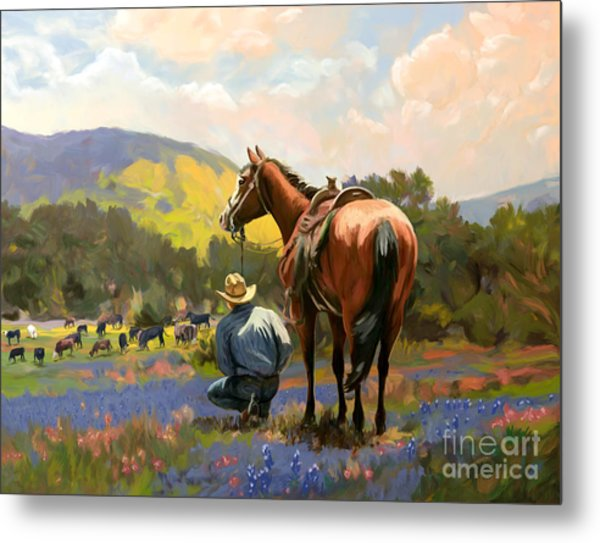 Cowboy And His Cows Metal Print