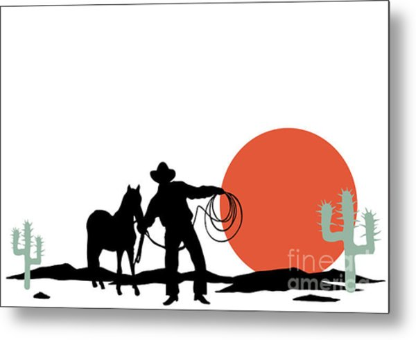 Cowboy And Hors Silhouettes Metal Print