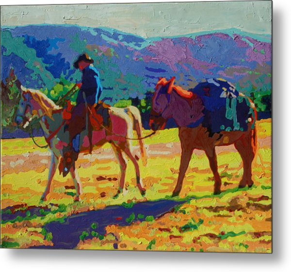 Cowboy And Pack Mule 2 Metal Print