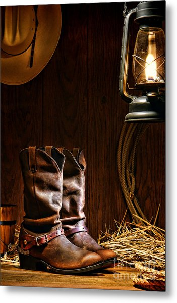 Cowboy Boots At The Ranch Metal Print