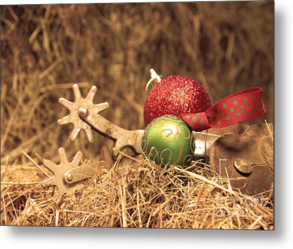 Cowboy Christmas Metal Print