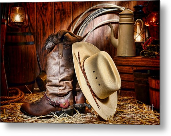Metal Print featuring the photograph Cowboy Gear by Olivier Le Queinec