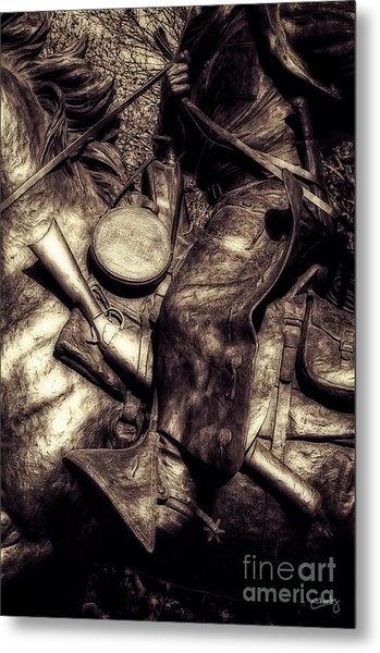 Cowboy In Bronze Metal Print