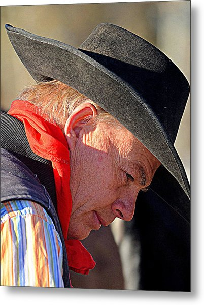 Cowboy In Thought Metal Print