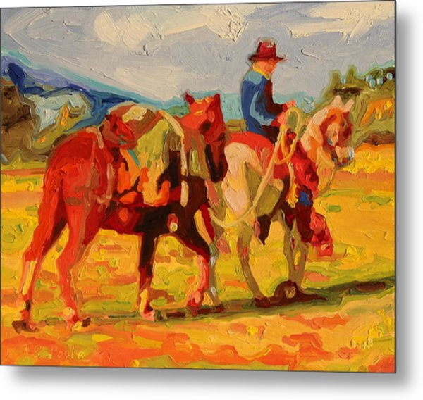 Cowboy Art Cowboy Leading Pack Horse Painting Bertram Poole Metal Print