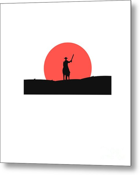 Cowboy With A Gun On A Horse In The Metal Print