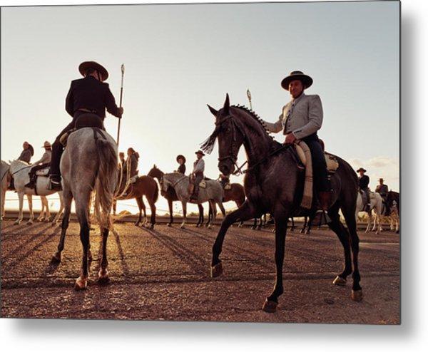 Cowboys On Horses Metal Print