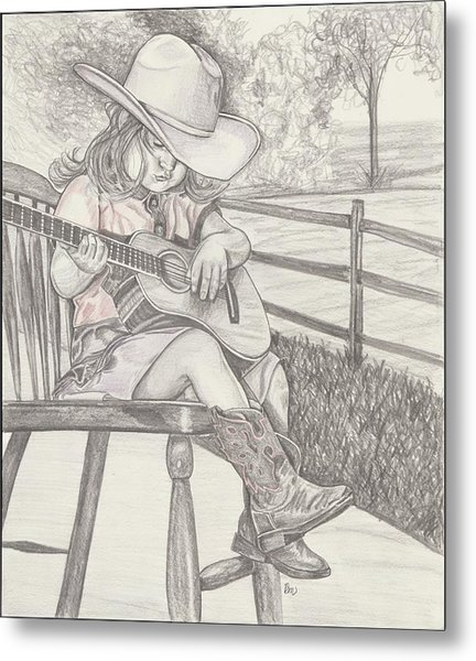 Cowgirl Melody Metal Print