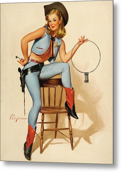 Cowgirl Pin-up Girl Metal Print