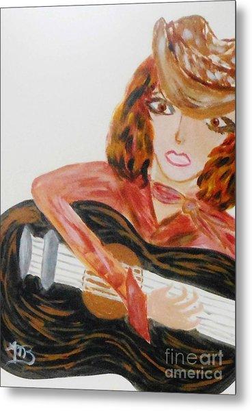 Cowgirl Singer Metal Print by Marie Bulger