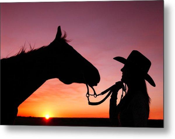 Cowgirl Sunset Metal Print