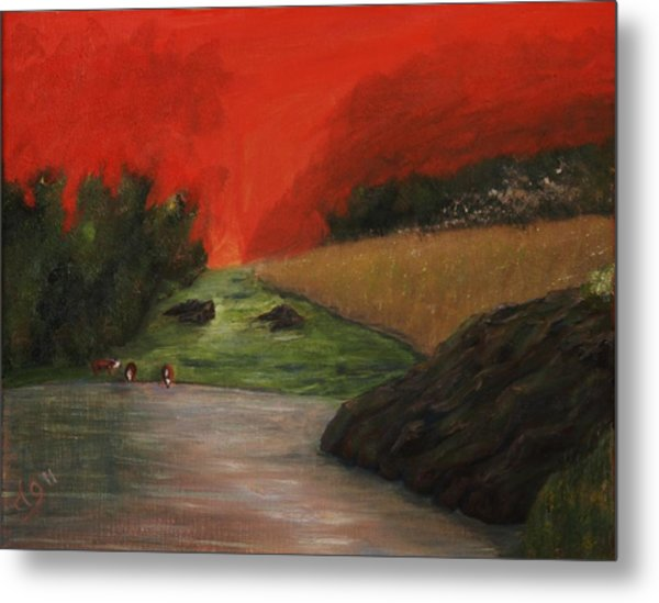 Cows And Storm Metal Print