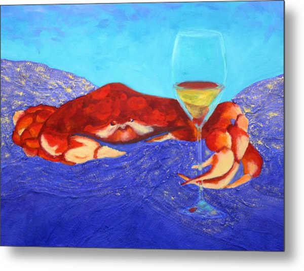 Crab And Chardonnay Metal Print